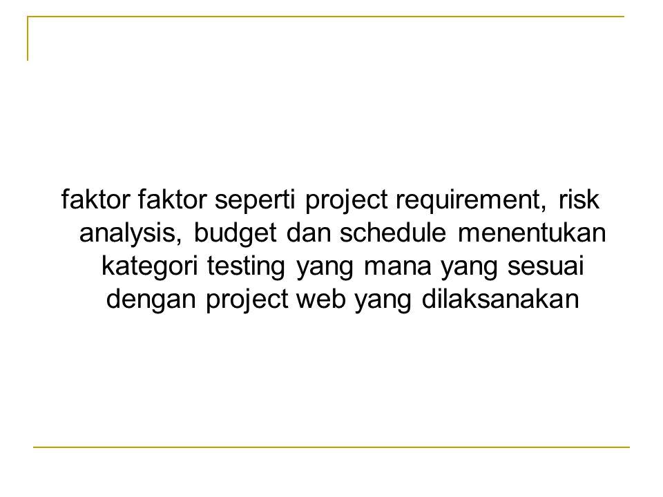 faktor faktor seperti project requirement, risk analysis, budget dan schedule menentukan kategori testing yang mana yang sesuai dengan project web yang dilaksanakan