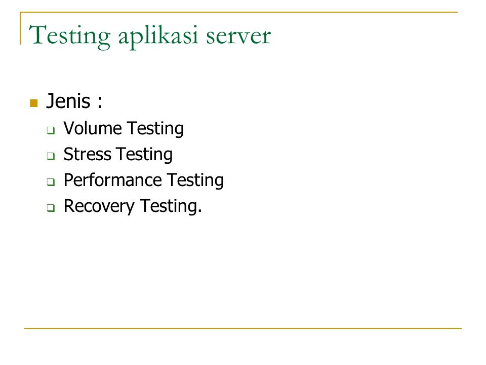 Testing aplikasi server