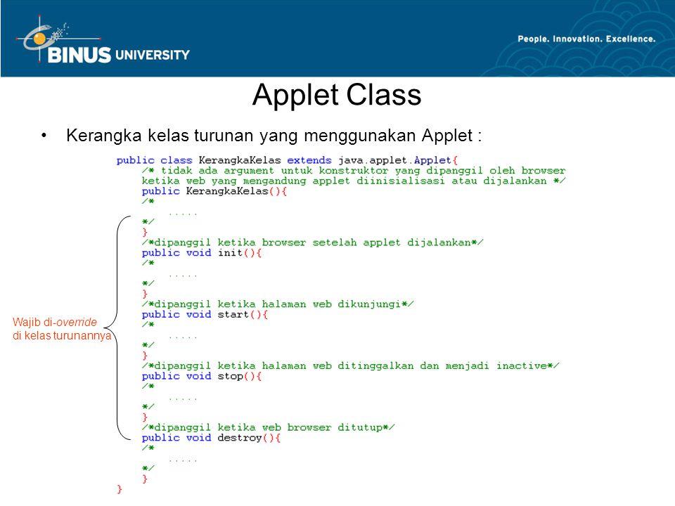 Applet Class Kerangka kelas turunan yang menggunakan Applet :