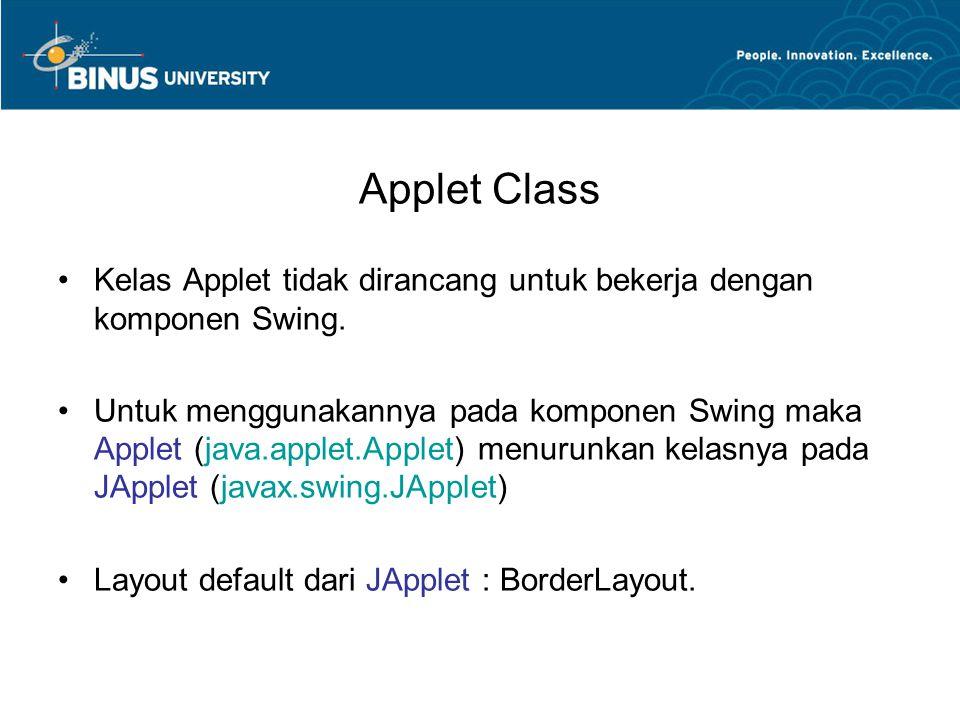 Applet Class Kelas Applet tidak dirancang untuk bekerja dengan komponen Swing.