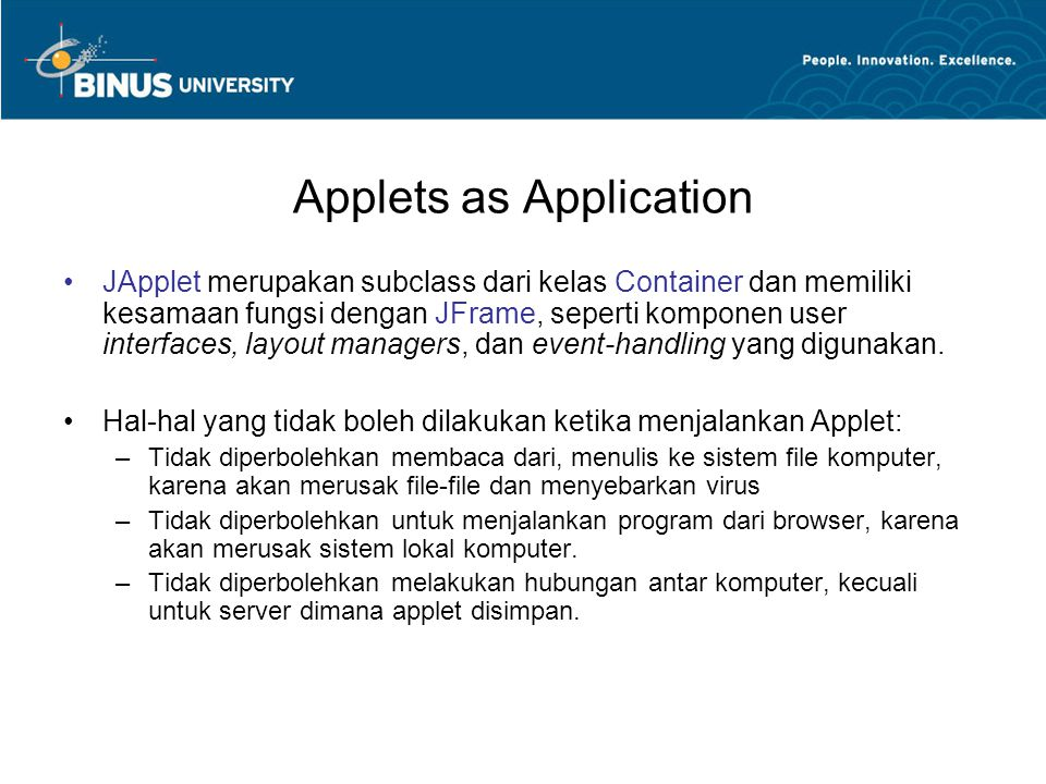 Applets as Application