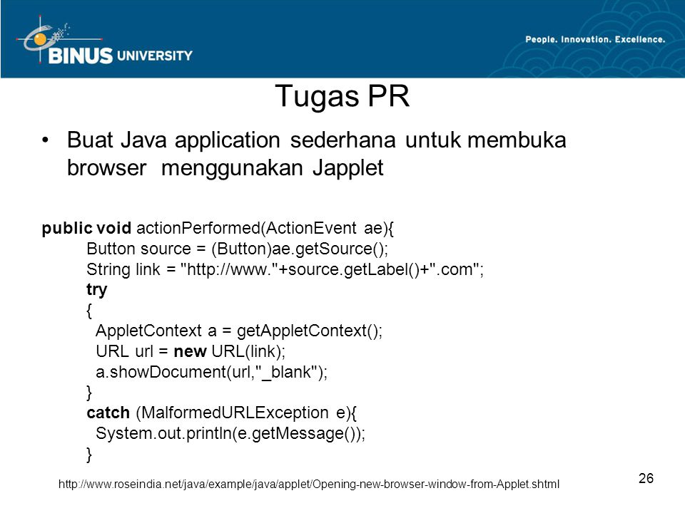 Tugas PR Buat Java application sederhana untuk membuka browser menggunakan Japplet.
