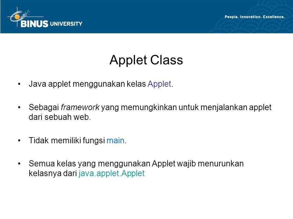 Applet Class Java applet menggunakan kelas Applet.
