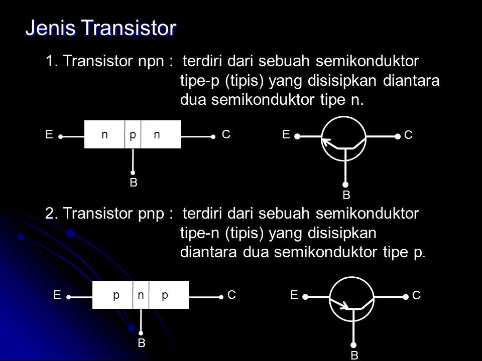 Jenis Transistor 1. Transistor npn : terdiri dari sebuah semikonduktor tipe-p (tipis) yang disisipkan diantara dua semikonduktor tipe n.