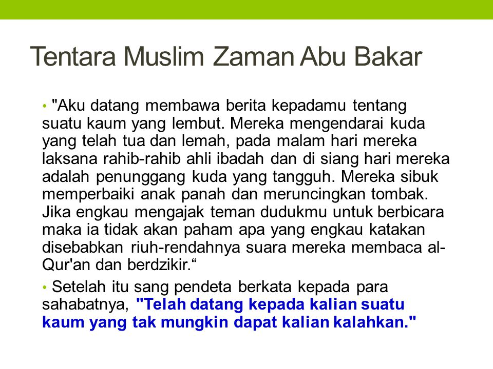 Tentara Muslim Zaman Abu Bakar