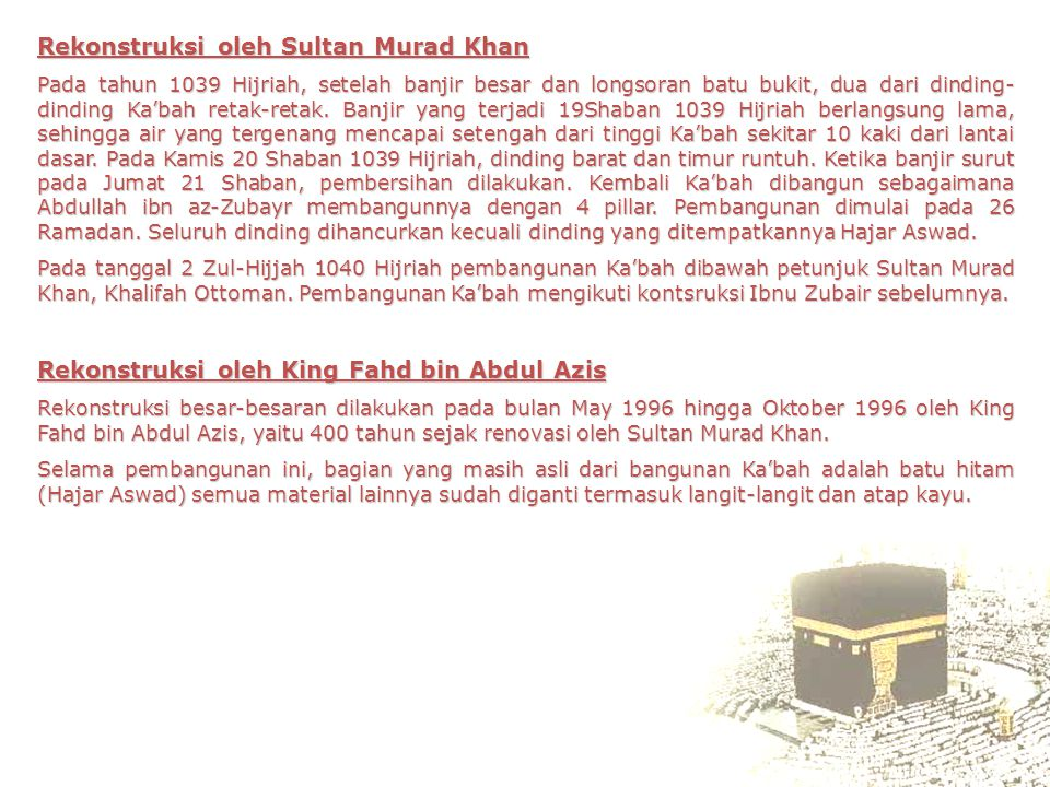 Rekonstruksi oleh Sultan Murad Khan