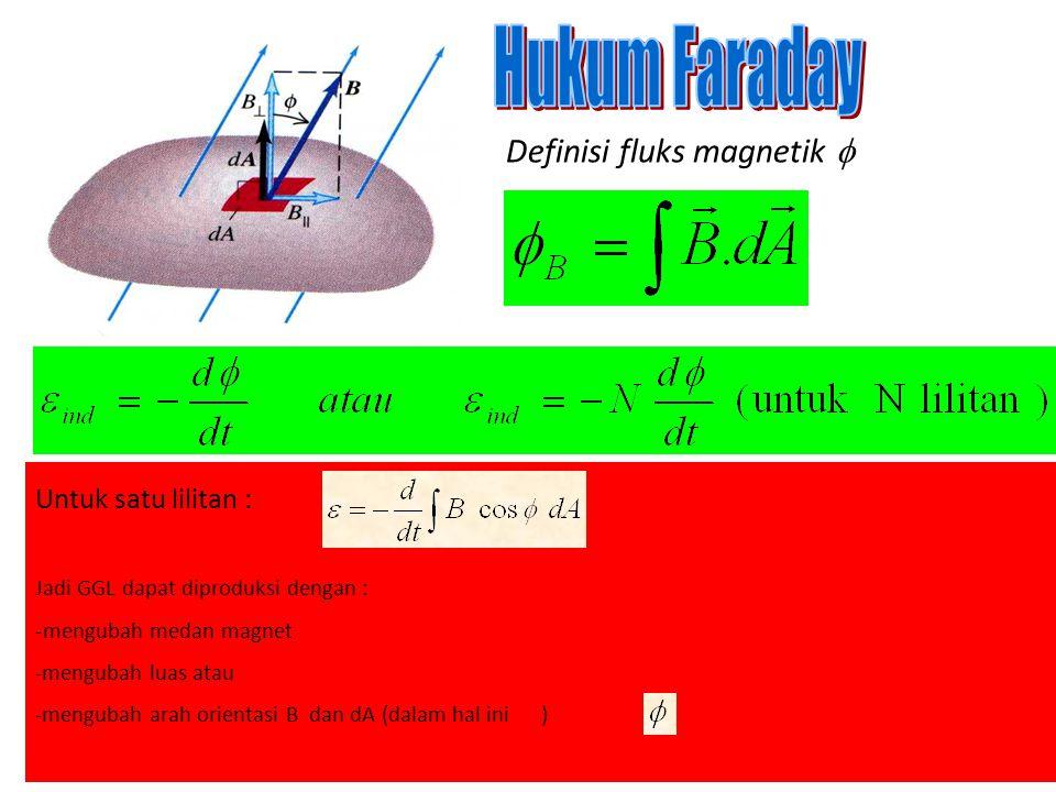Hukum Faraday Definisi fluks magnetik  Untuk satu lilitan :