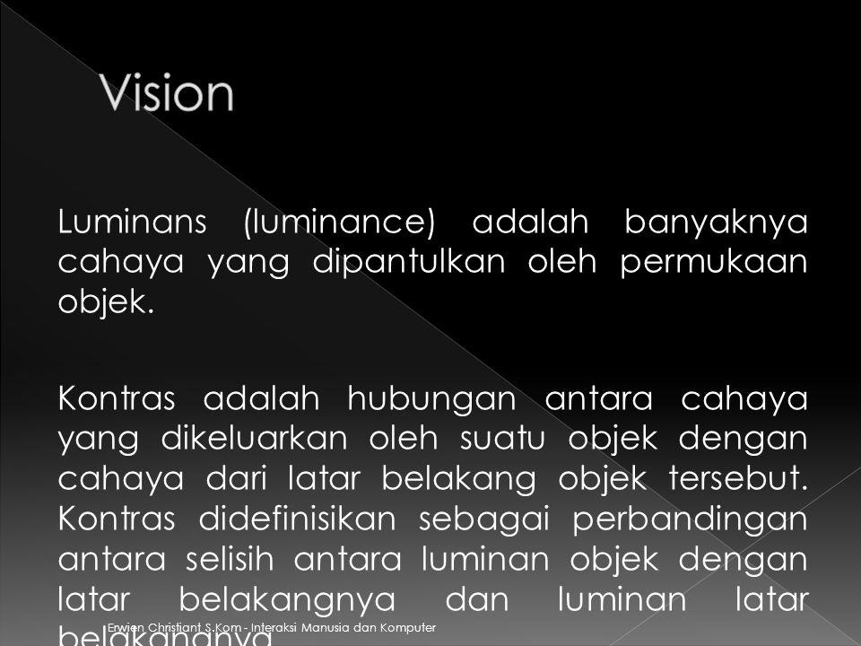 Vision Luminans (luminance) adalah banyaknya cahaya yang dipantulkan oleh permukaan objek.