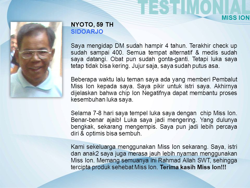 TESTIMONIAL MISS ION NYOTO, 59 TH SIDOARJO