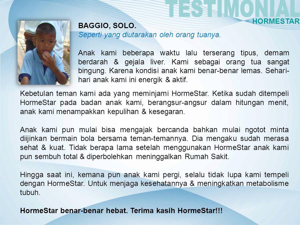 TESTIMONIAL HORMESTAR BAGGIO, SOLO.