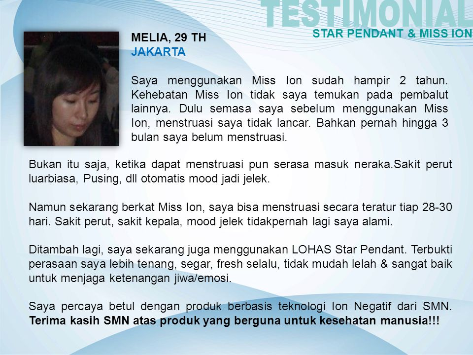 TESTIMONIAL STAR PENDANT & MISS ION MELIA, 29 TH JAKARTA
