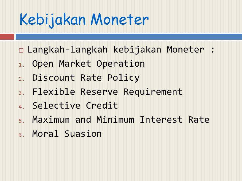 Kebijakan Moneter Langkah-langkah kebijakan Moneter :
