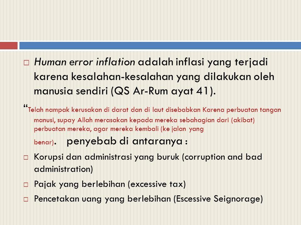 Human error inflation adalah inflasi yang terjadi karena kesalahan-kesalahan yang dilakukan oleh manusia sendiri (QS Ar-Rum ayat 41).