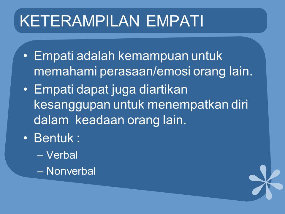 KETERAMPILAN EMPATI Empati adalah kemampuan untuk memahami perasaan/emosi orang lain.