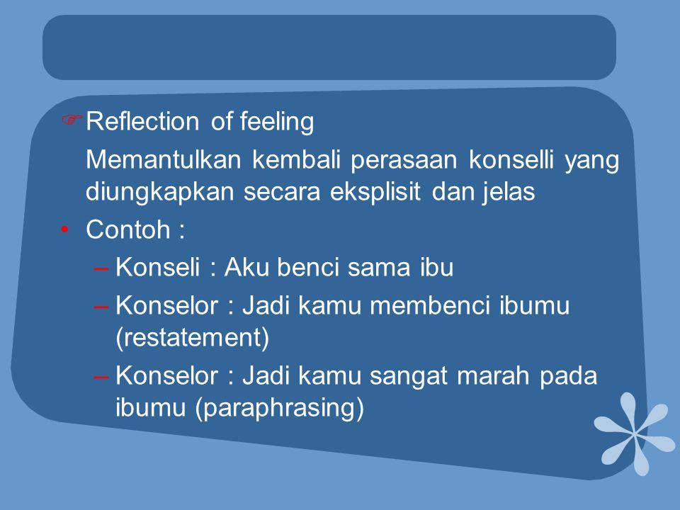 Reflection of feeling Memantulkan kembali perasaan konselli yang diungkapkan secara eksplisit dan jelas.