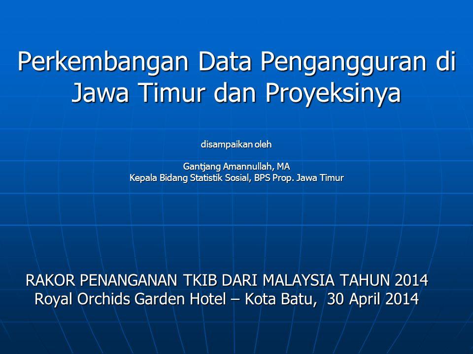 Perkembangan Data Pengangguran di Jawa Timur dan Proyeksinya disampaikan oleh Gantjang Amannullah, MA Kepala Bidang Statistik Sosial, BPS Prop. Jawa Timur