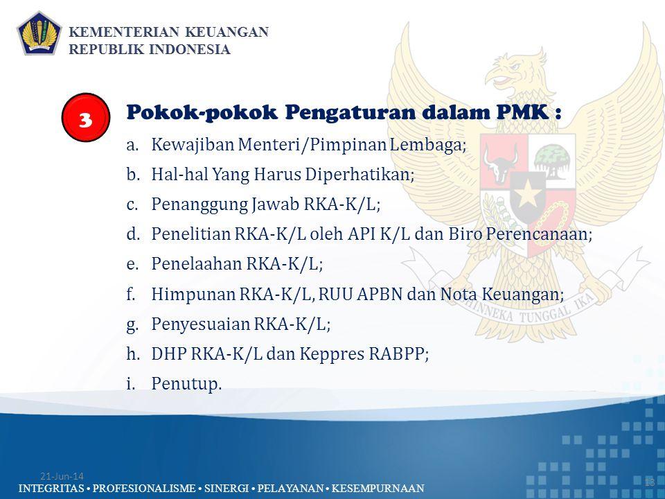 Pokok-pokok Pengaturan dalam PMK :