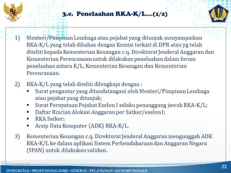 3.e. Penelaahan RKA-K/L….(1/2)