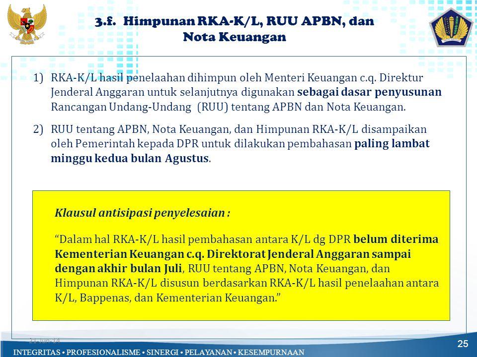 3.f. Himpunan RKA-K/L, RUU APBN, dan Nota Keuangan