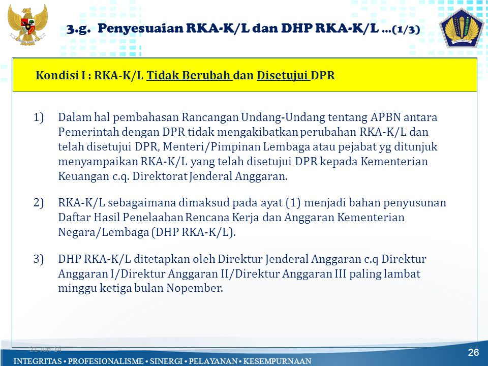 3.g. Penyesuaian RKA-K/L dan DHP RKA-K/L …(1/3)
