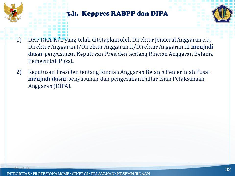 3.h. Keppres RABPP dan DIPA