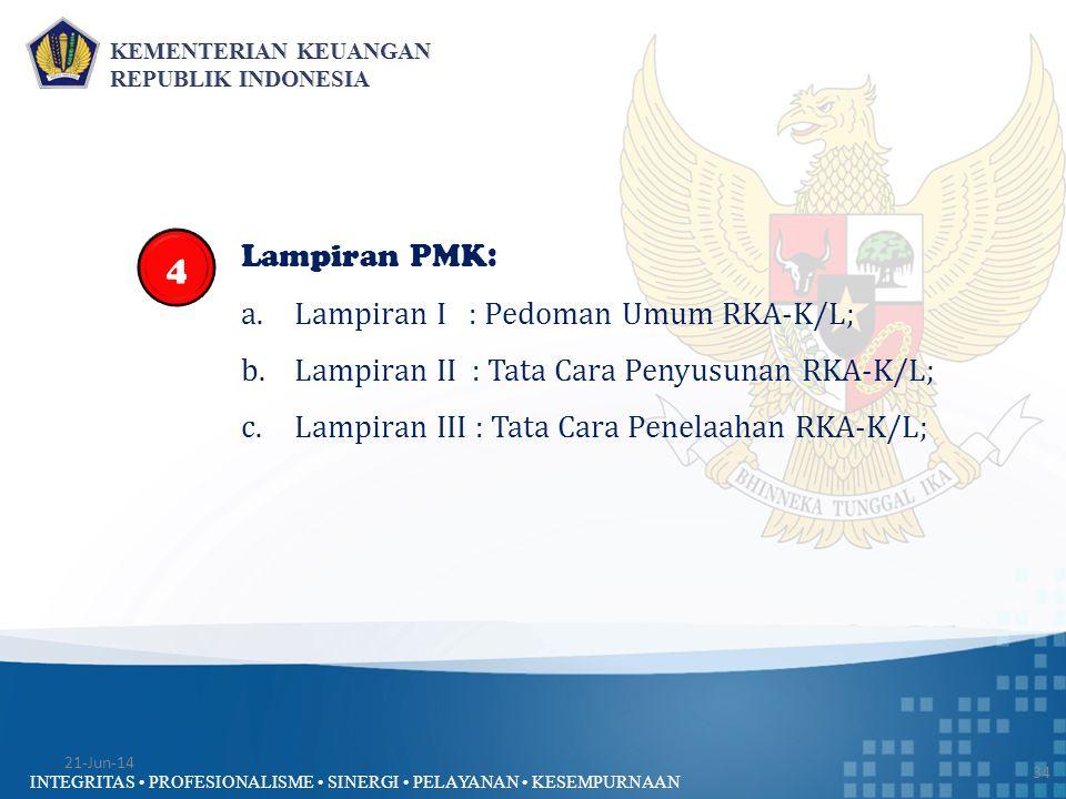 4 Lampiran PMK: Lampiran I : Pedoman Umum RKA-K/L;