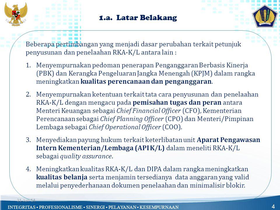 1.a. Latar Belakang Beberapa pertimbangan yang menjadi dasar perubahan terkait petunjuk penyusunan dan penelaahan RKA-K/L antara lain :