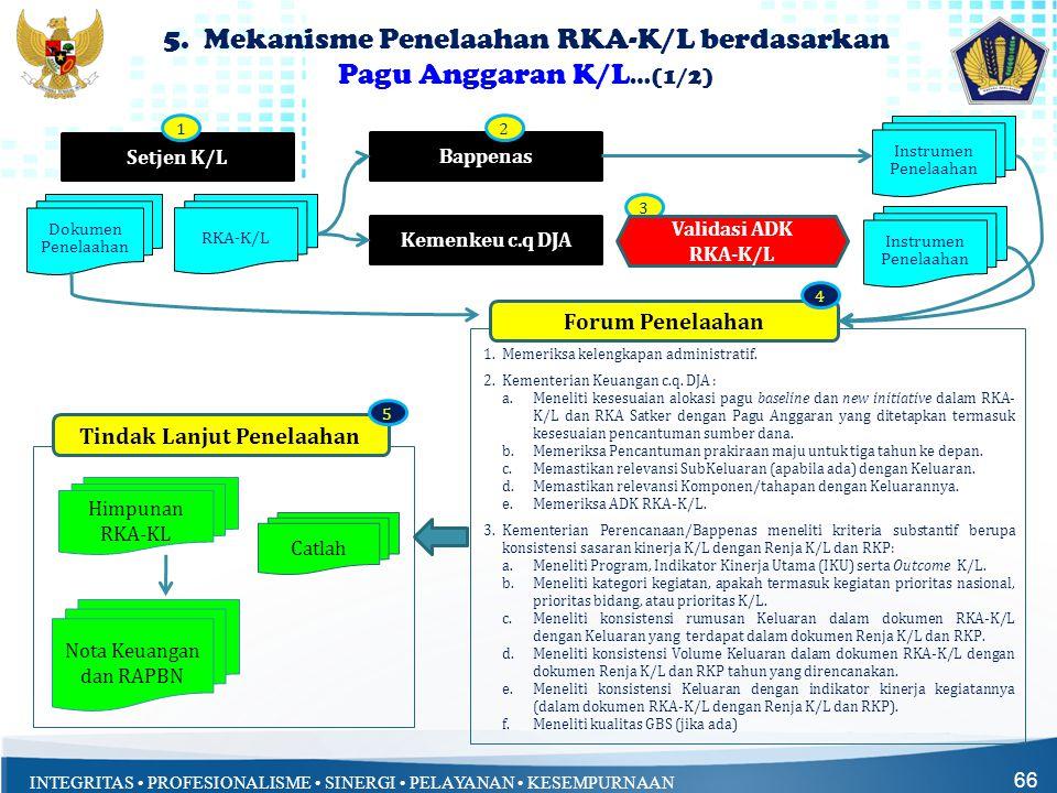 5. Mekanisme Penelaahan RKA-K/L berdasarkan Pagu Anggaran K/L…(1/2)