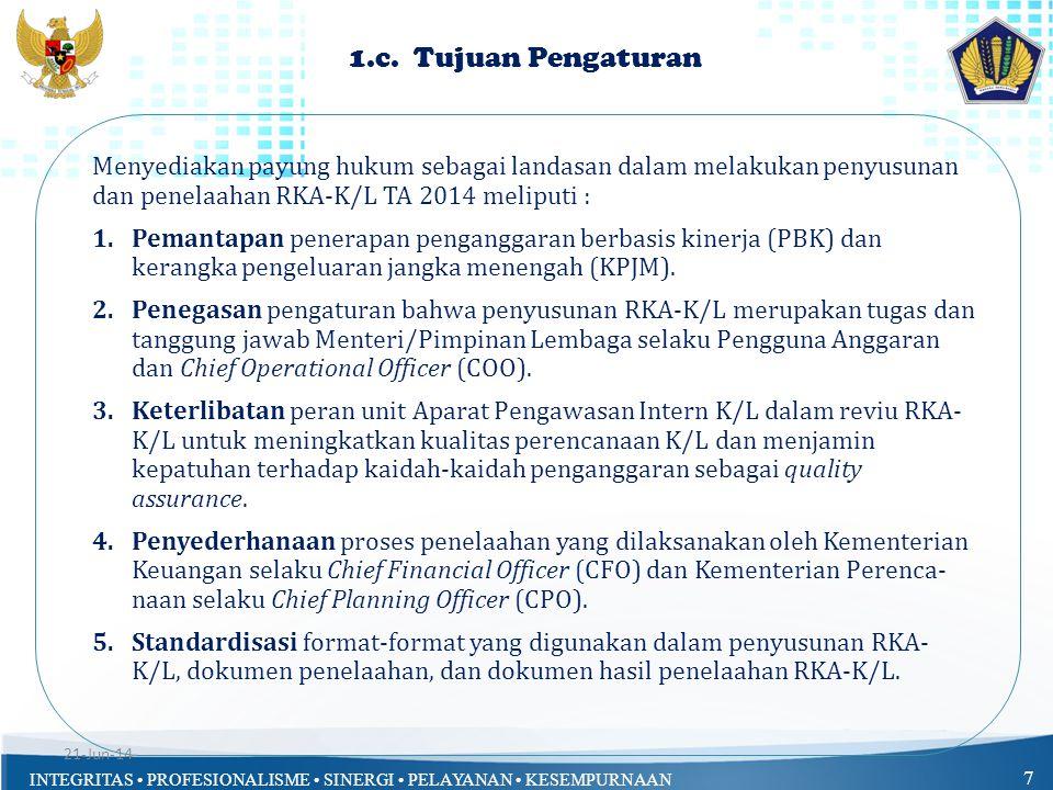 1.c. Tujuan Pengaturan Menyediakan payung hukum sebagai landasan dalam melakukan penyusunan dan penelaahan RKA-K/L TA 2014 meliputi :