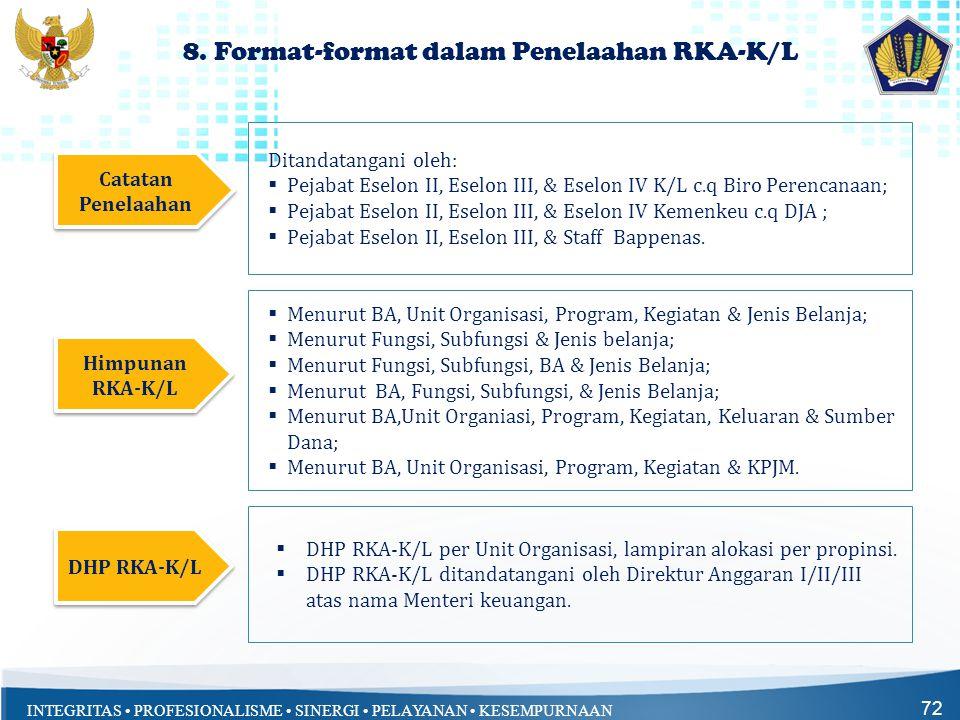 8. Format-format dalam Penelaahan RKA-K/L