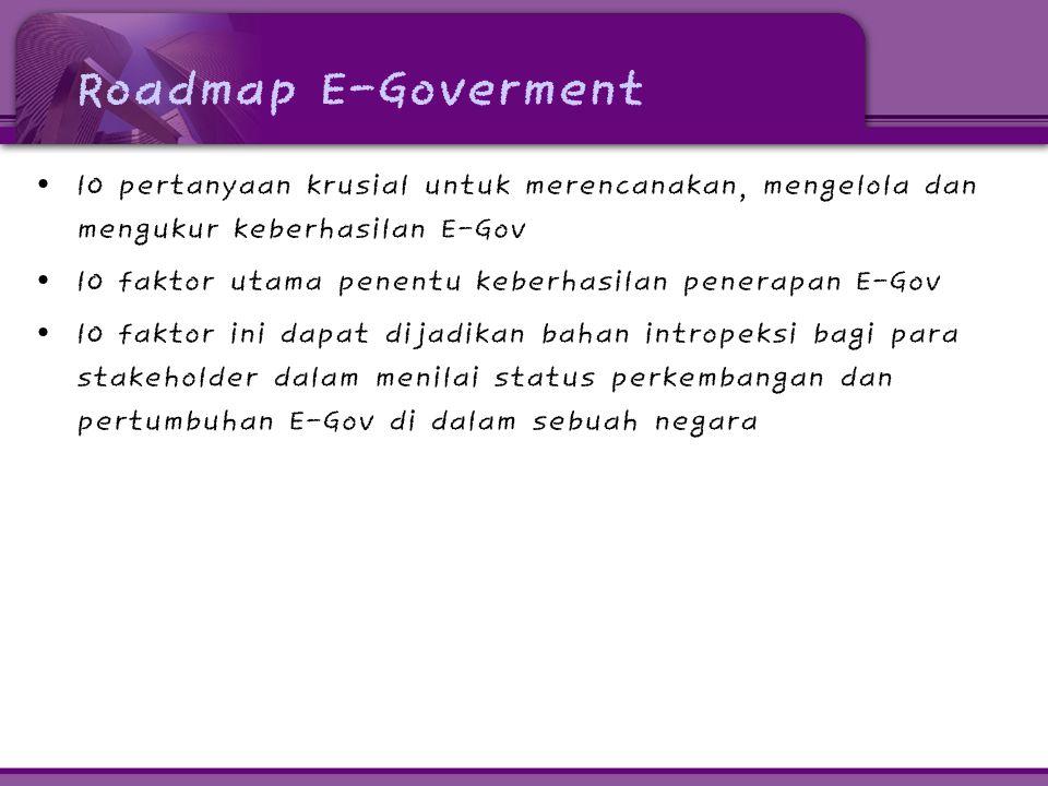 Roadmap E-Goverment 10 pertanyaan krusial untuk merencanakan, mengelola dan mengukur keberhasilan E-Gov.