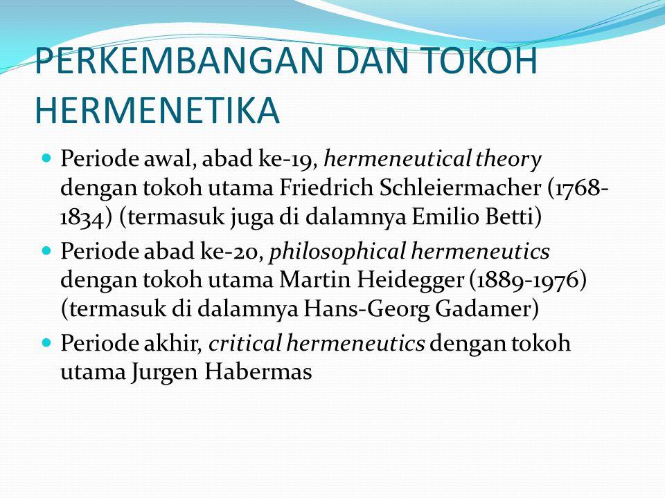 PERKEMBANGAN DAN TOKOH HERMENETIKA