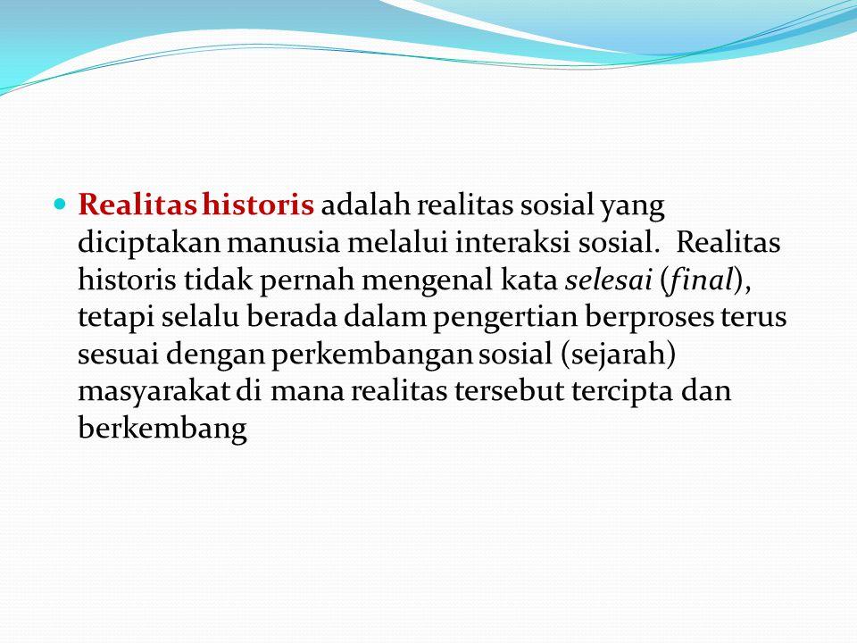 Realitas historis adalah realitas sosial yang diciptakan manusia melalui interaksi sosial.