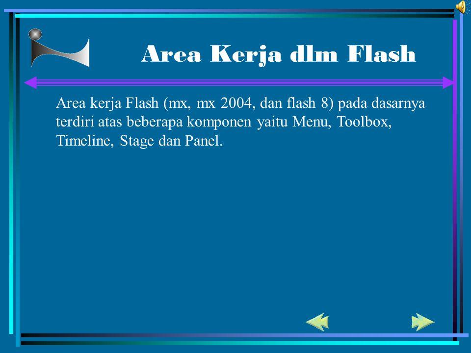 Area Kerja dlm Flash Area kerja Flash (mx, mx 2004, dan flash 8) pada dasarnya.