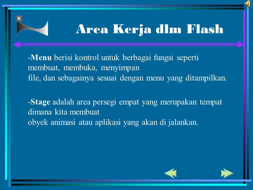 Area Kerja dlm Flash -Menu berisi kontrol untuk berbagai fungsi seperti membuat, membuka, menyimpan.