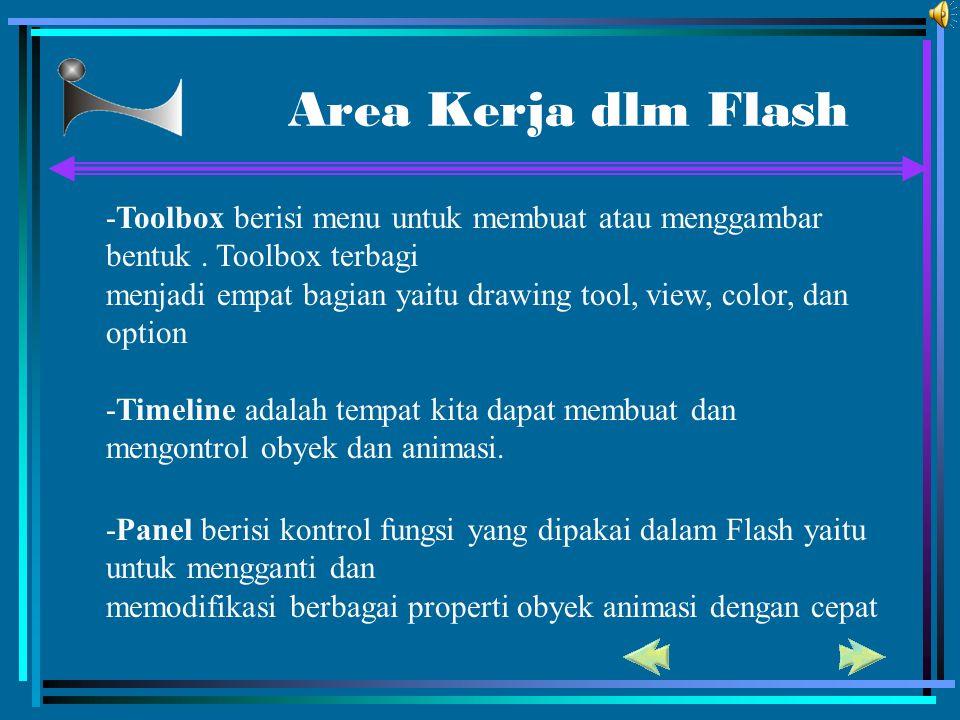 Area Kerja dlm Flash -Toolbox berisi menu untuk membuat atau menggambar bentuk . Toolbox terbagi.