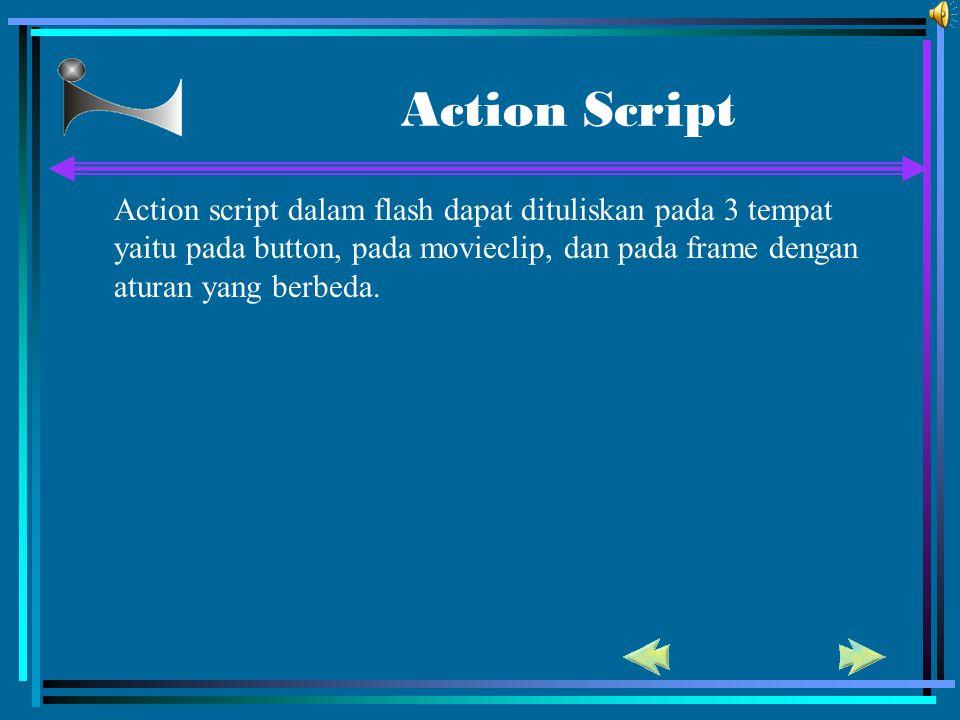 Action Script Action script dalam flash dapat dituliskan pada 3 tempat yaitu pada button, pada movieclip, dan pada frame dengan aturan yang berbeda.
