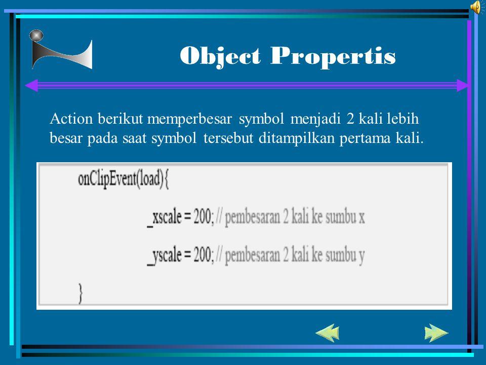 Object Propertis Action berikut memperbesar symbol menjadi 2 kali lebih besar pada saat symbol tersebut ditampilkan pertama kali.