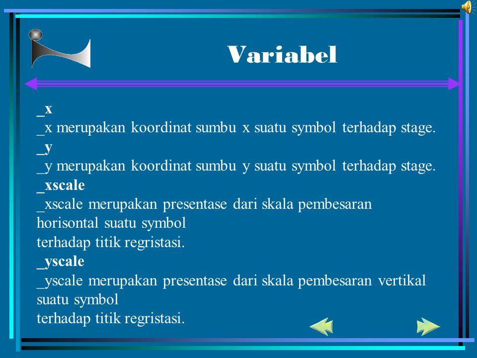 Variabel _x. _x merupakan koordinat sumbu x suatu symbol terhadap stage. _y. _y merupakan koordinat sumbu y suatu symbol terhadap stage.