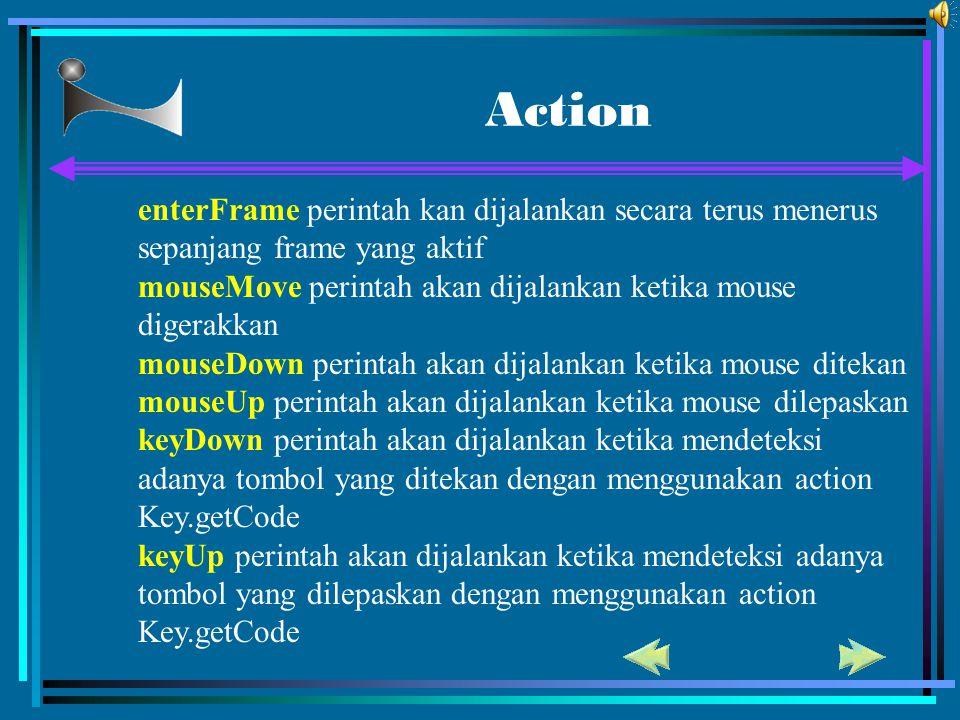Action enterFrame perintah kan dijalankan secara terus menerus sepanjang frame yang aktif.