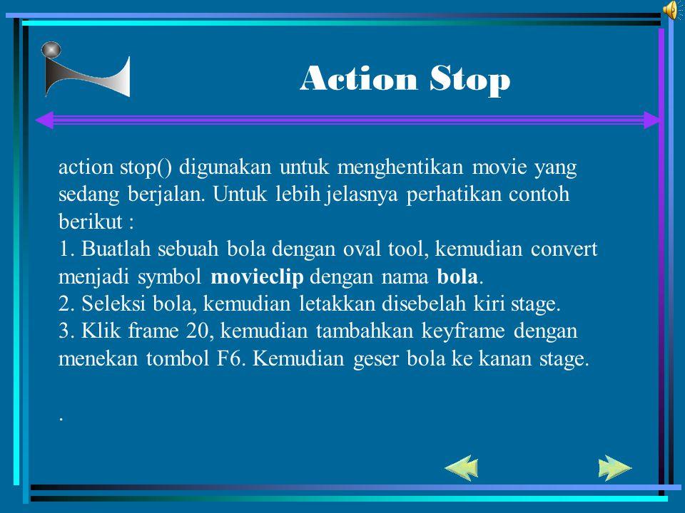 Action Stop action stop() digunakan untuk menghentikan movie yang sedang berjalan. Untuk lebih jelasnya perhatikan contoh berikut :
