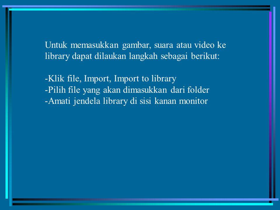 Untuk memasukkan gambar, suara atau video ke library dapat dilaukan langkah sebagai berikut: