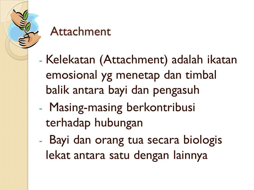 Attachment Kelekatan (Attachment) adalah ikatan emosional yg menetap dan timbal balik antara bayi dan pengasuh.