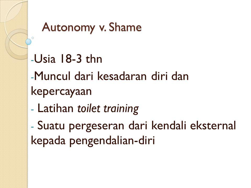 Autonomy v. Shame Usia 18-3 thn. Muncul dari kesadaran diri dan kepercayaan. Latihan toilet training.