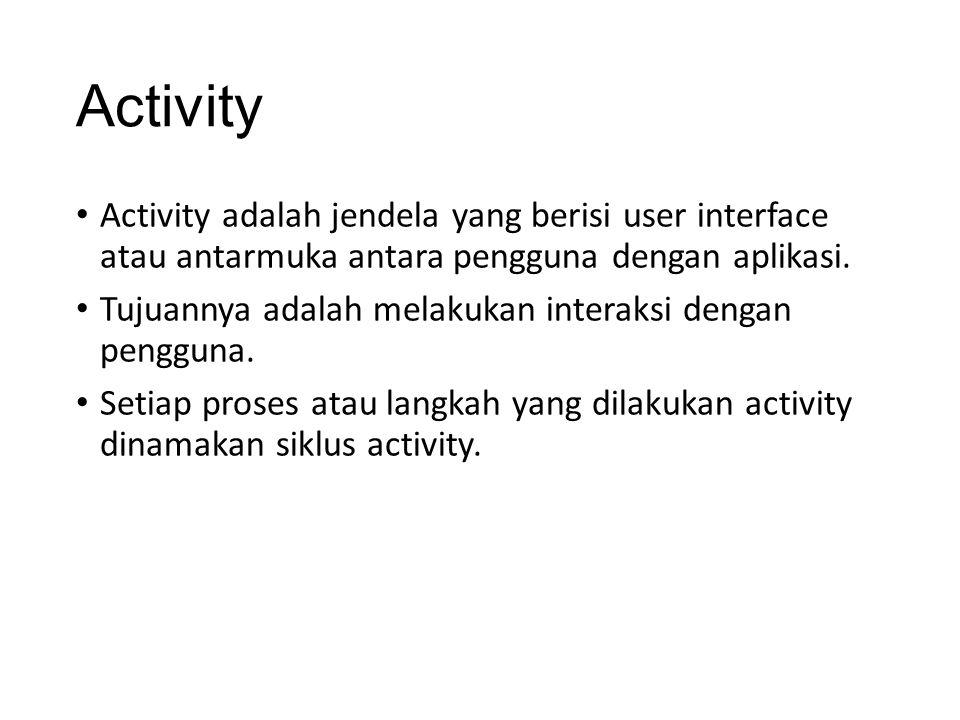Activity Activity adalah jendela yang berisi user interface atau antarmuka antara pengguna dengan aplikasi.