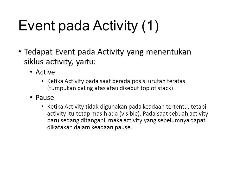Event pada Activity (1) Tedapat Event pada Activity yang menentukan siklus activity, yaitu: Active.