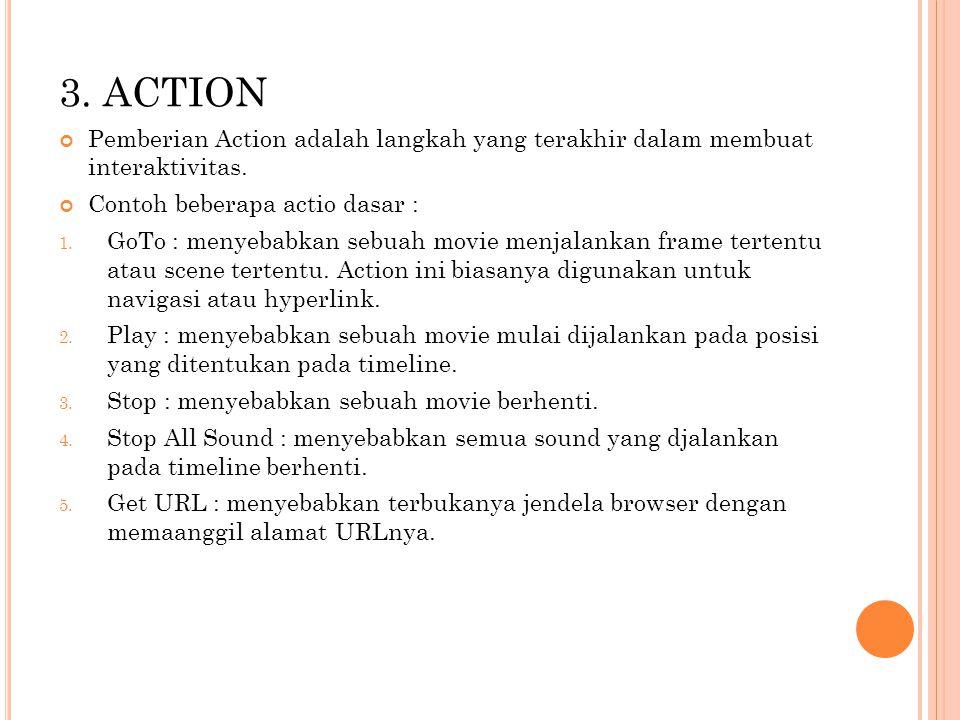 3. ACTION Pemberian Action adalah langkah yang terakhir dalam membuat interaktivitas. Contoh beberapa actio dasar :