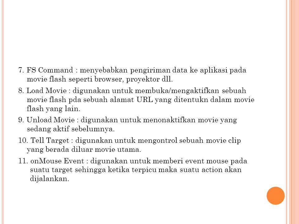7. FS Command : menyebabkan pengiriman data ke aplikasi pada movie flash seperti browser, proyektor dll.
