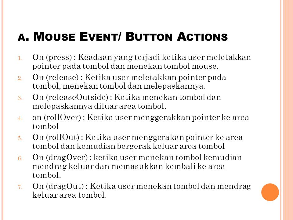 a. Mouse Event/ Button Actions