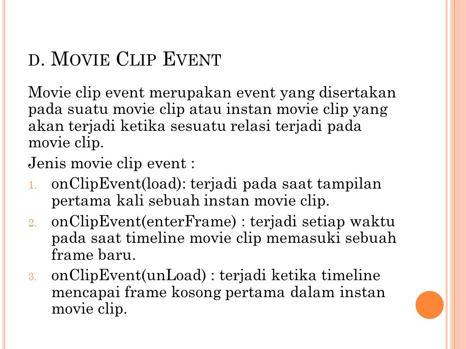 d. Movie Clip Event